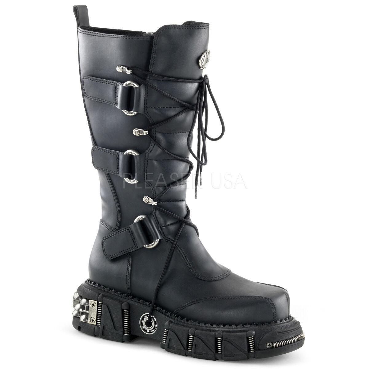 Demonia DMA 3005 Unisex 3 Fibbia Cinturino Lacci Punk Rock Vegan Stivali
