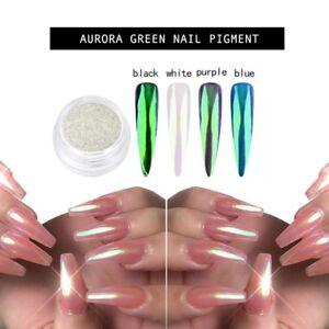 1a2356c88b7d Image is loading Aurora-Green-Pearl-Nail-Pigment-Dust-Powder-Mirror-