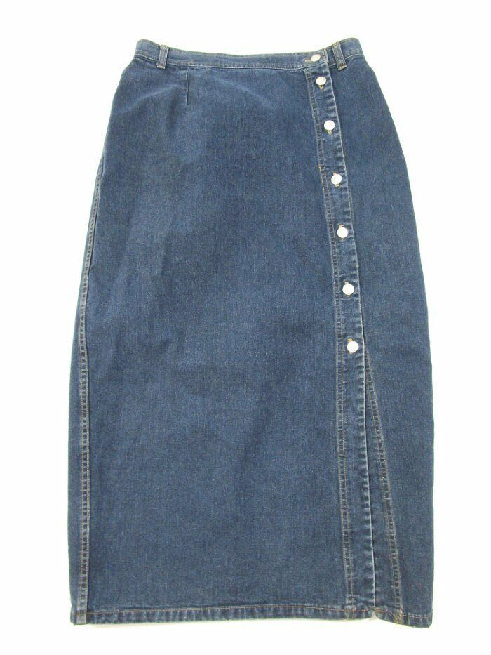 Vintage  Crazy Horse  Button Front bluee Jean Skirt 100% Cotton Size 13 14