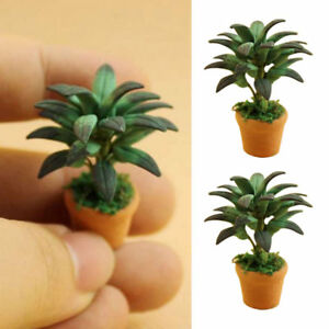 1-12-Dollhouse-Miniatures-Green-Plant-Pot-Potted-Tree-Mini-Plants-Doll-House
