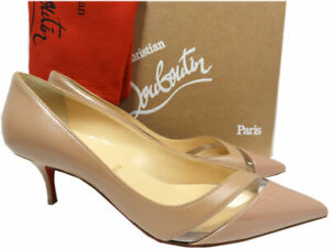 the latest ffdb5 054b6 Details about Christian Louboutin Nude Beige 17th Floor Pumps Low Heel  Pointy Toe Shoes 39