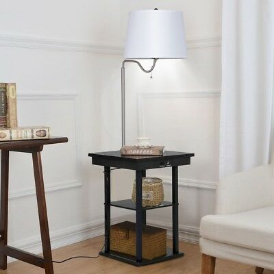 57 Height Home Built In End Table Swing Arm Floor Lamp With Shade 2 Usb Ports Ebay