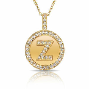 9020de99b6386 14K Solid Yellow Gold Round Circle Initial