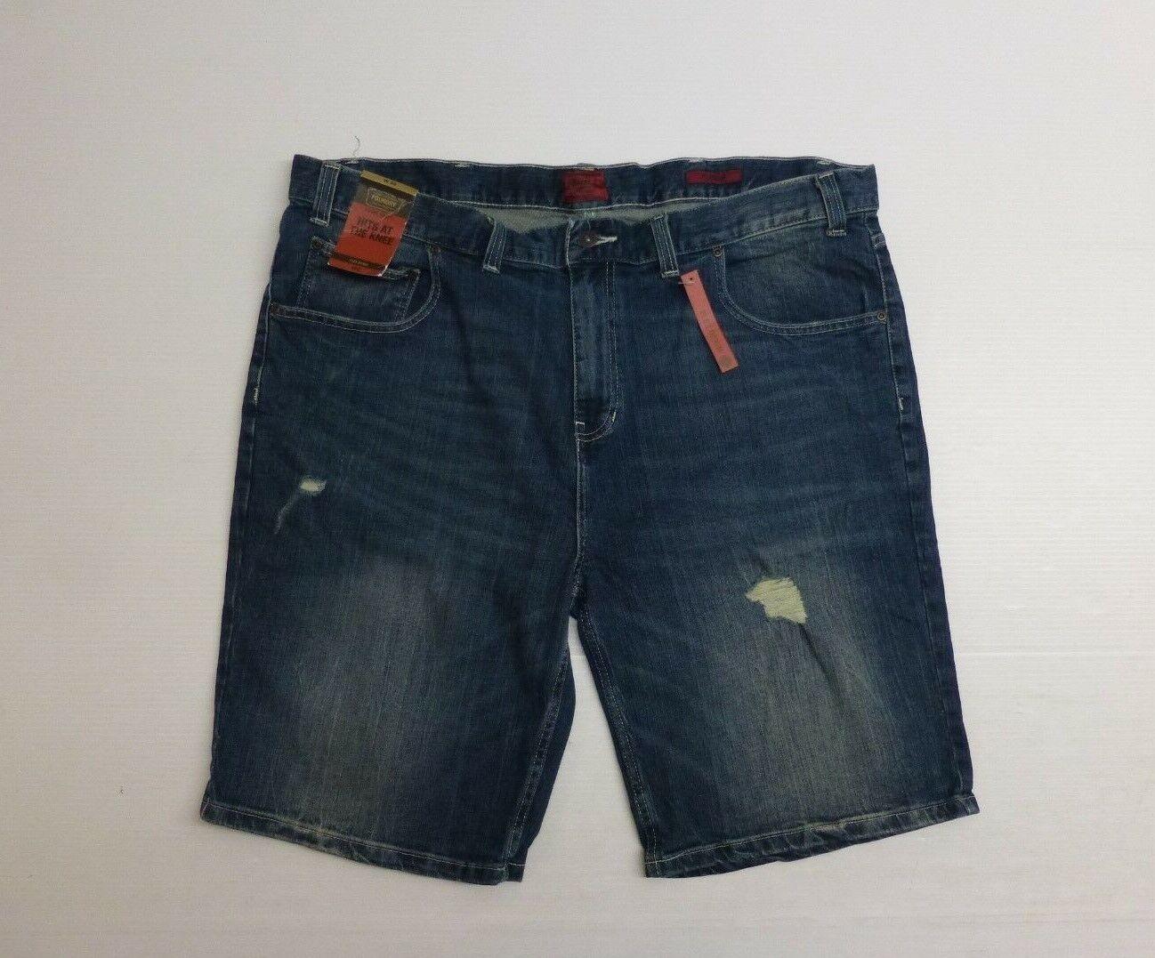Foundry Supply Co Mens Sz 46 bluee Medium Stone Wash Distressed Denim Shorts NWT