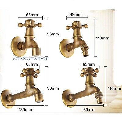 Brass Water Tap Faucet Wall Mounted Washing Machine Lavatory Vintage Copper New