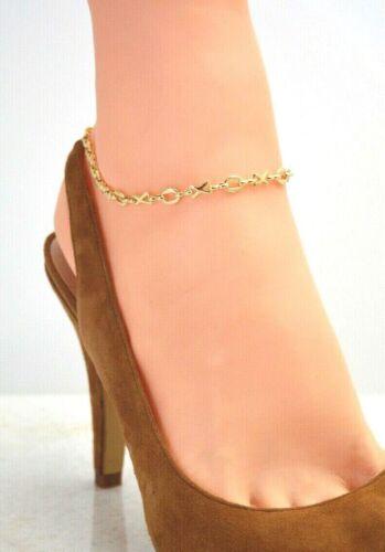 OXOX HUGS /& KISSES14Kt Gold Clad Bond ANKLET ANKLE  BRACELET GREEK KEY 9 TO 12.5