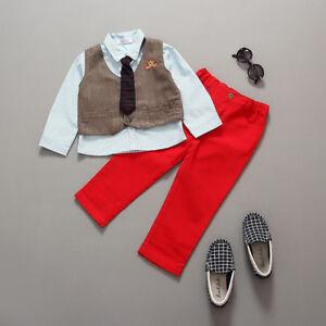 Details Zu Baby Jungen 4 Tlg Anzug Taufe Fest Hemd Hose Krawatte Braun Rot Gr 8086 Neu
