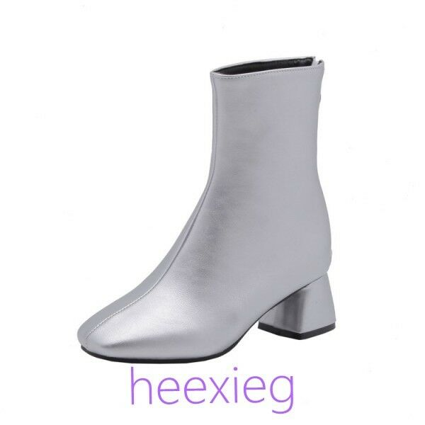 Womens Block Heel Ankle Boots PU Leather Back Back Back Zipper Square Toe Outdoor shoes SI 1ca41c