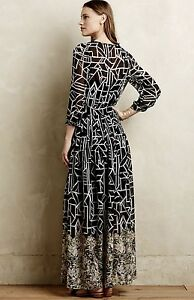 New Anthropologie Moulinette Soeurs Black White Geo Print Chiffon