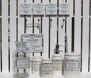 VINTAGE-FRENCH-BATHROOM-ACCESSORIES-SET-EAU-DE-COLOGNE-SOAP-DISPENSER-TOOTHBRUSH