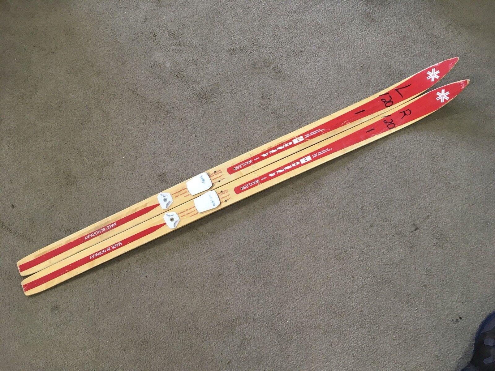 "Vintage 47"" Bonna Waxless Skis Made In Norway Trail Size Ski 120cm"