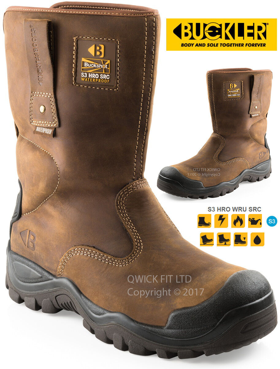 MENS BUCKLERS WATERPROOF LEATHER SAFETY RIGGER WORK BOOTS STEEL TOE CAP SHOES S