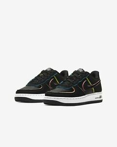 bahía reunirse sector  Nike Air Force 1 Low Black Pink Barely Volt CD7406-001 GS Womens Size 4Y-7Y  NEW | eBay