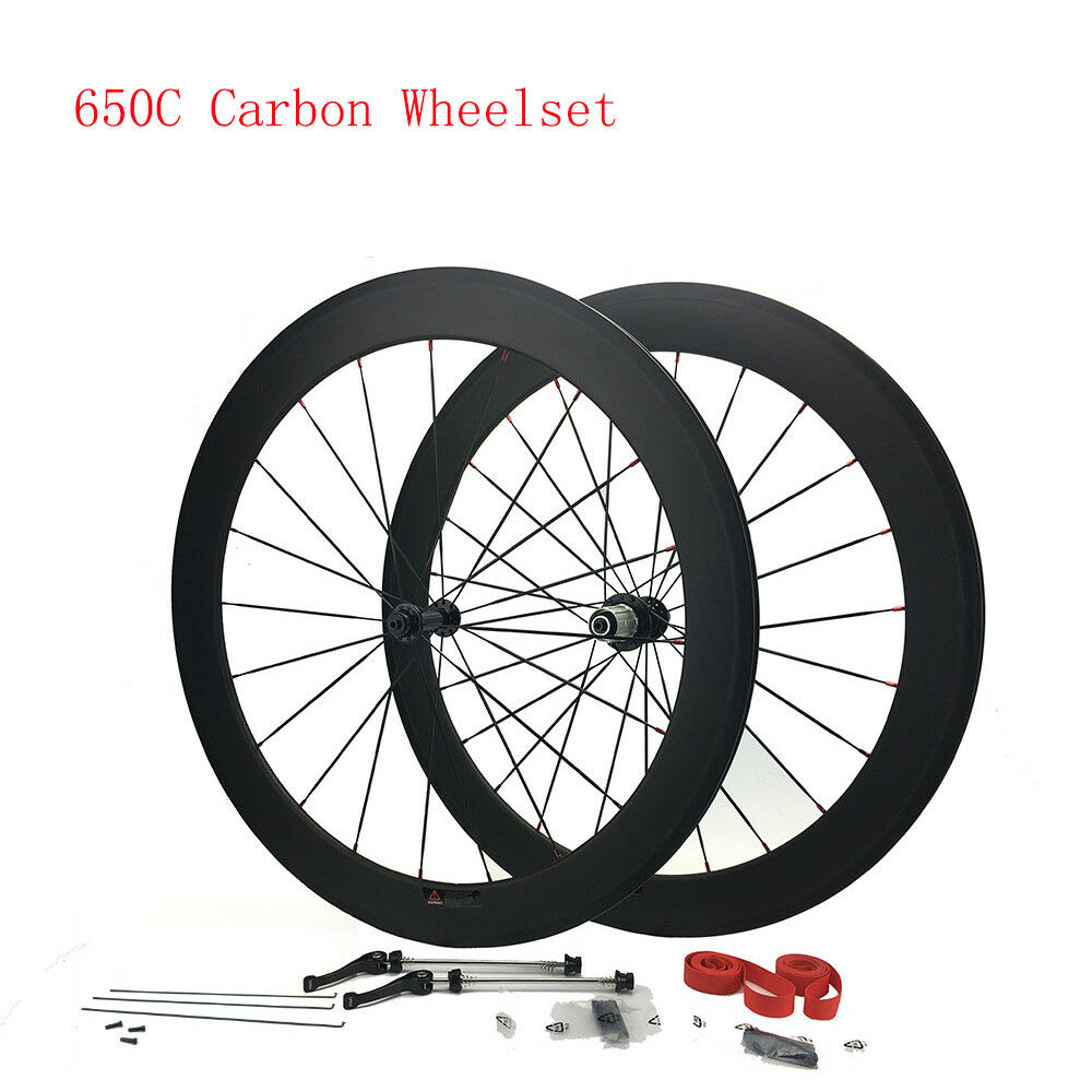 650C Full Carbon Wheels Road Bike 50mm Carbon Wheelset Clincher 20.5mm Width