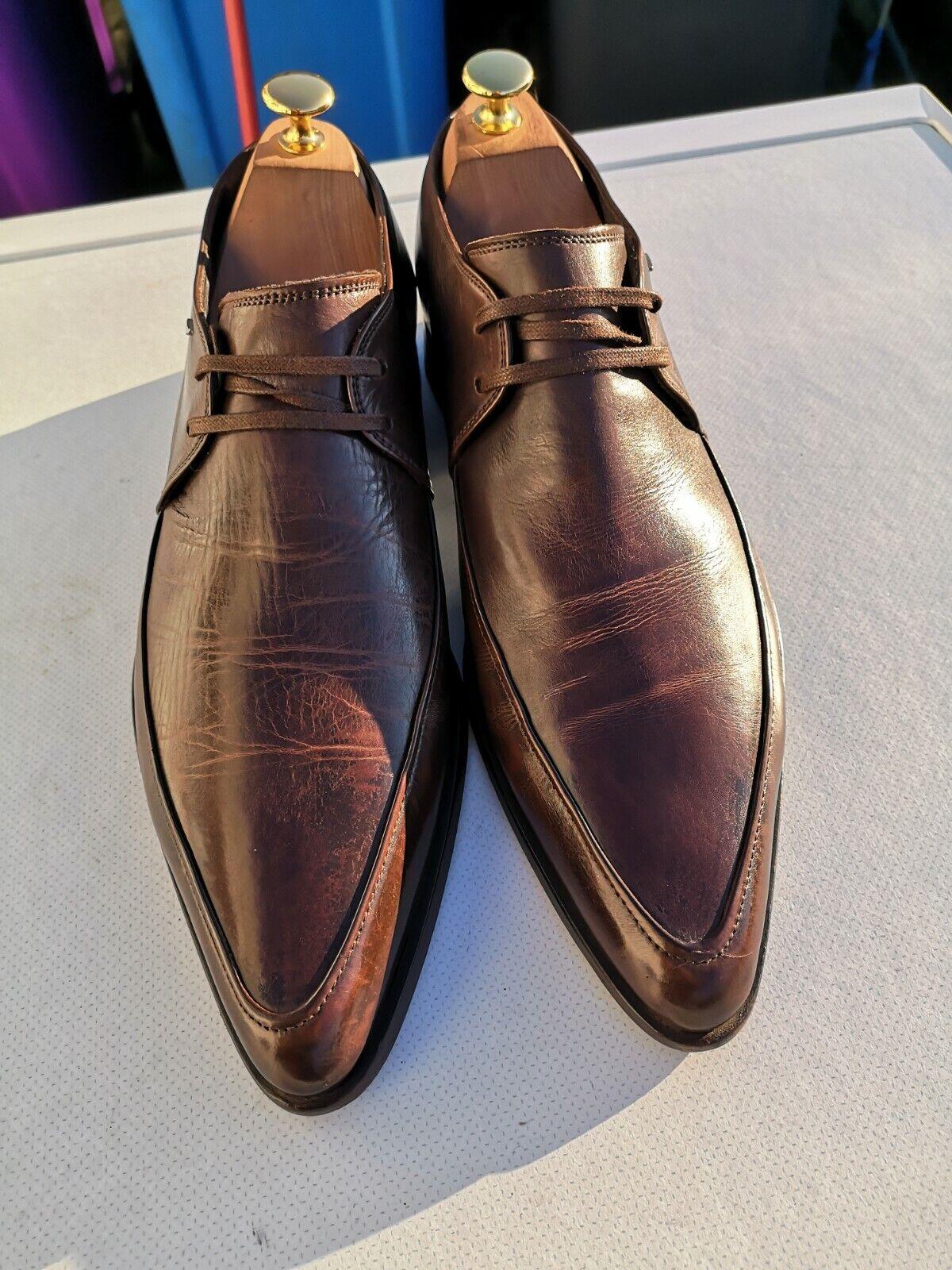 ALBERTO GUARDIANI Mens 100% Leather, braun Lace-up Dress schuhe UK 8 (42).