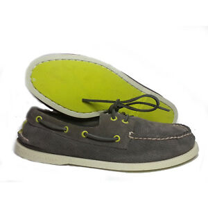Details about SPERRY Men Size 8 A O 2-Eye Perforated Grey Yellow Boat Shoes  Loafer fa6209e41