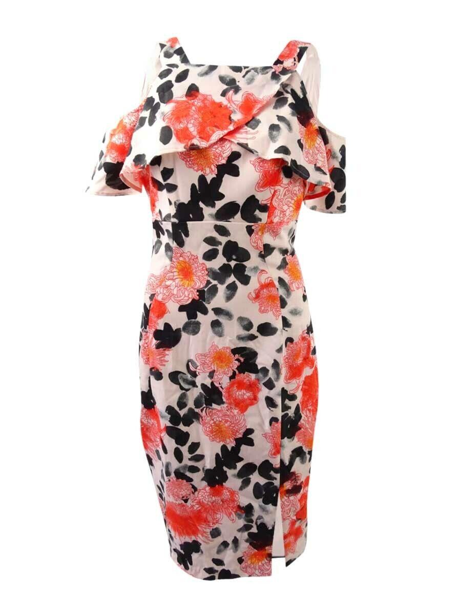 JAX Woherren Floral-Print Cold-Shoulder Sheath Dress (6, Weiß Orange schwarz)