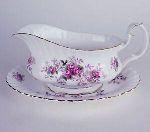 Gravy-Boat-with-Tray-Royal-Albert-Lavender-Rose-vintage-bone-china-England