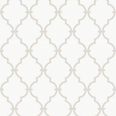 WALLPAPER BY THE YARD Grey White Trellis Wallpaper