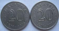 Malaysia 20 sen 1976 coin 2 pcs