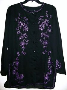 Antthony Embroidered Couture Beaded and Embroidered Blouse BLACK $39.90
