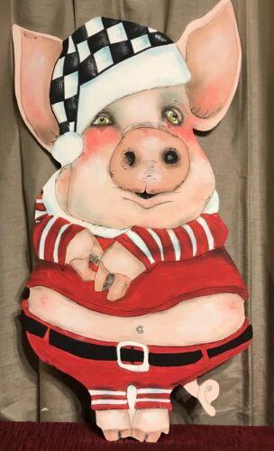 My Hand Painted Santa Pig And A Mckenzie Child Napklin!