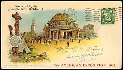"#279 ON PAN AMERICAN EXPO ADVT COVER 1901 BUFFALO, NY ""ETHOLOGY BLDG"" VF+ BT3003"
