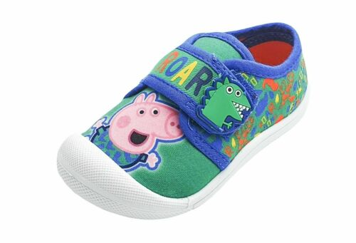 "BOYS PEPPA PIG GEORGE /""PETRA/"" CANVAS SHOES ADJUSTABLE GREAT OUDOOR SHOES"