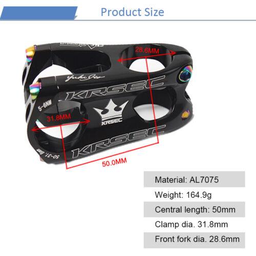 KRSEC Stem 31.8*28.6mm Short 50mm Aluminum CNC Hollow MTB//AM//XC Bike Bar Stem