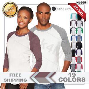 b0f78152e9a Next Level - UNISEX 3 4 Sleeve Raglan Baseball T-Shirt Tri Blend ...