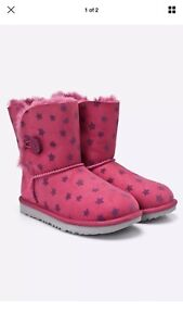 664ed24fbfa Details about UGG Girl's Bailey Button II Stars Brambleberry (fuchsia Pink)  size 9 Toddler NIB