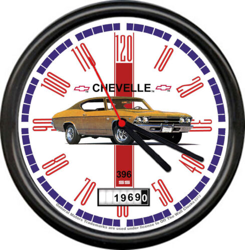 Licensed 1969 Chevelle Gold Muscle Car Chevrolet General Motors Sign Wall Clock