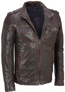 Men-039-s-detresse-en-cuir-noir-delave-Couture-en-Cuir-Veritable-Veste