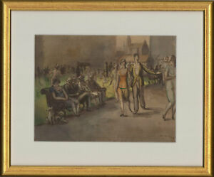 Harold-Hope-Read-1881-1959-Signed-1925-Watercolour-Strolling-Through-a-Park