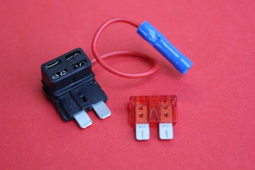 Piggy Back Standard Blade Fuse Holders 12//24 Volt 2 x Add a Circuit Fuse Tap