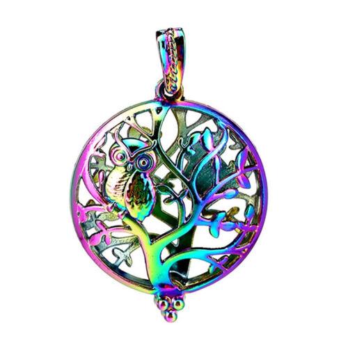 5pcs//lot Rainbow Color Big Round Magnet Owl Tree Locket Pendant Pearl Cage C970