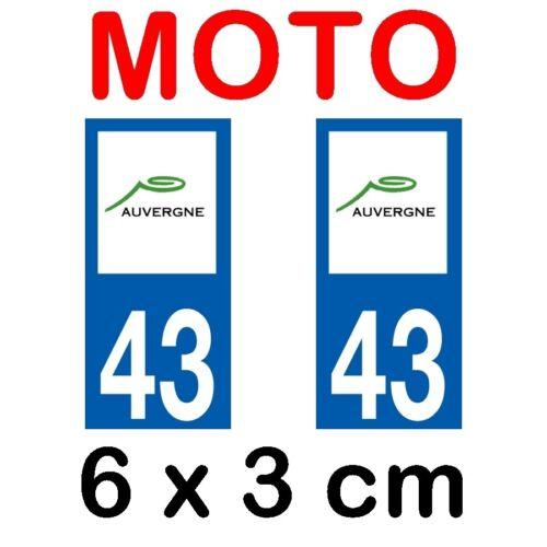 Autocollant plaque immatriculation moto dpt 43 Haute Loire