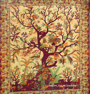 Details About Indian Tree Of Life Wall Hanging Single Tapestries Bedspread Throw Ethnic Decor