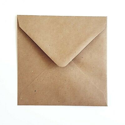 "Square Kraft Envelopes 6/""x6/"" Recycled Paper Rustic Wedding Invite RSVP Save Date"