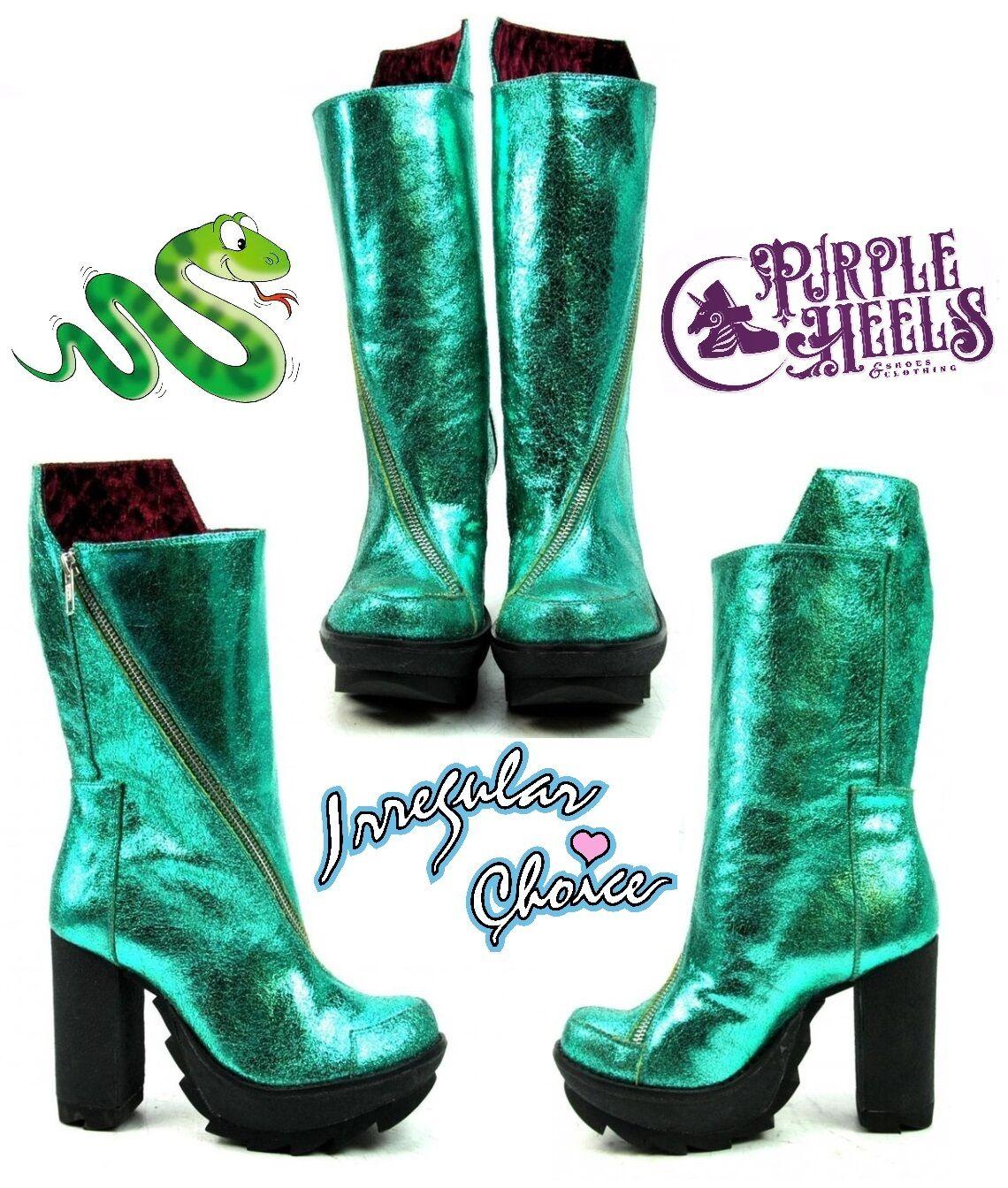 Irregular Choice Karrie Okey Metallic Emerald Leder Knee High Booties UK4/EU37