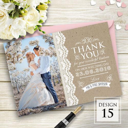 Premium Personalisiert Hochzeit-dankeskarten Inklusive Umschläge und ihre Fotos