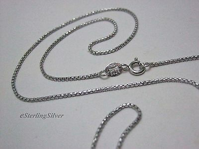 """925 Sterling Silver Box Link Chain / Necklace - 18"""" Inches, 1.1mm, 2.9 grams"""