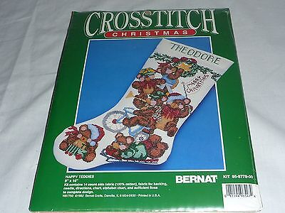 Bernat Christmas Stocking Cross Stitch Kit Happy Teddies 95-8779-00 Teddy Bear