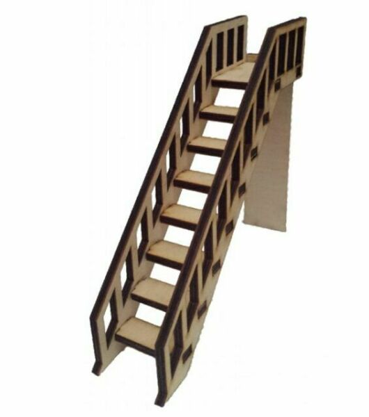 Dolls House Staircase Wooden Stairs With Banister Rail
