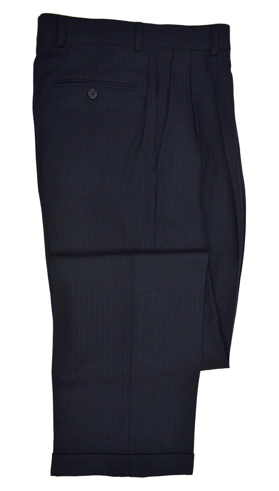 Brooks Bredhers Mens Navy bluee Wool Pleated Cuffed Dress Pants 34W x 29L 5823-3