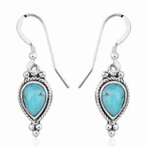 925-Sterling-Silver-Turquoise-Drop-Dangle-Earrings-Southwest-Jewelry-Gift-Ct-1