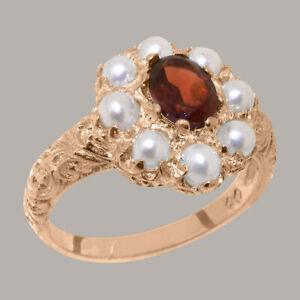 Solid-14ct-Rose-Gold-Natural-Garnet-amp-Pearl-Womens-Cluster-Ring-Sizes-J-to-Z