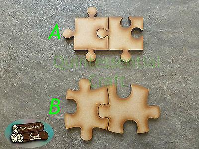 Wooden Jigsaw Interlocking Pieces Craft Blanks Two piece keyrings