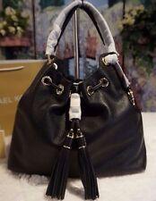 NWT Michael Kors CAMDEN Large Drawstring Shoulder Tote Bag BLACK Leather $398