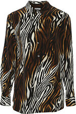 a9844e793647 Equipment Femme Reese Clean Bronze Zebra Print Silk Blouse Shirt S ...